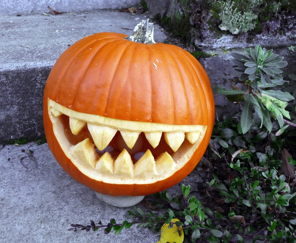 Trochu pracnější, ale o to efektnější je  dýně s vyřezávanými zuby.