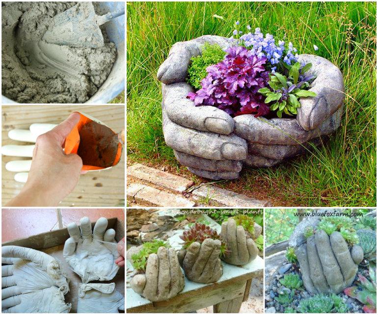 Cement-Hand-Planter-wonerfuldiy