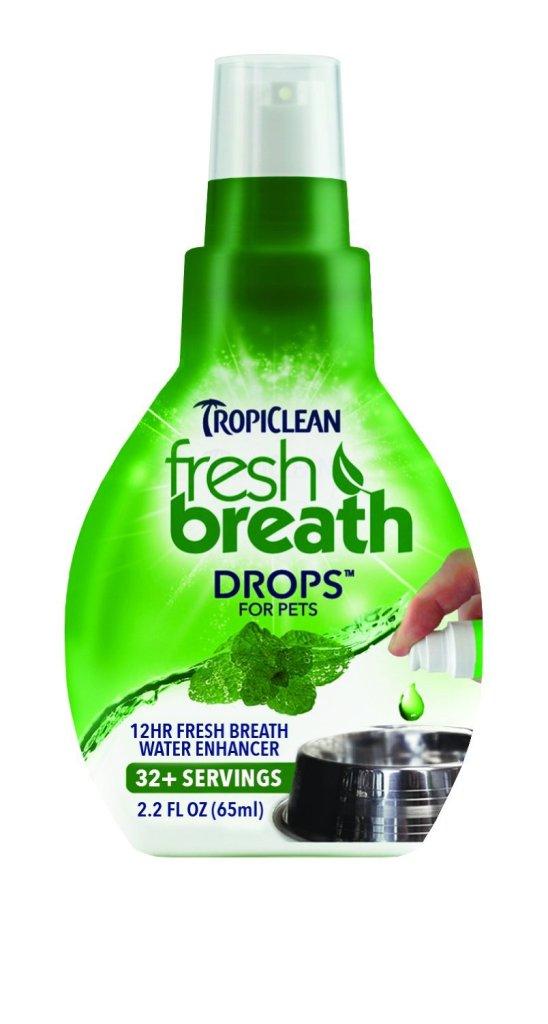 Přidejte denně 3 kapky Tropiclean fresh breath Drops  do misky s vodou a už po týdnu by mělmít váš chlupáč nápadně svěžejší dech. petcenter.cz, 199 Kč